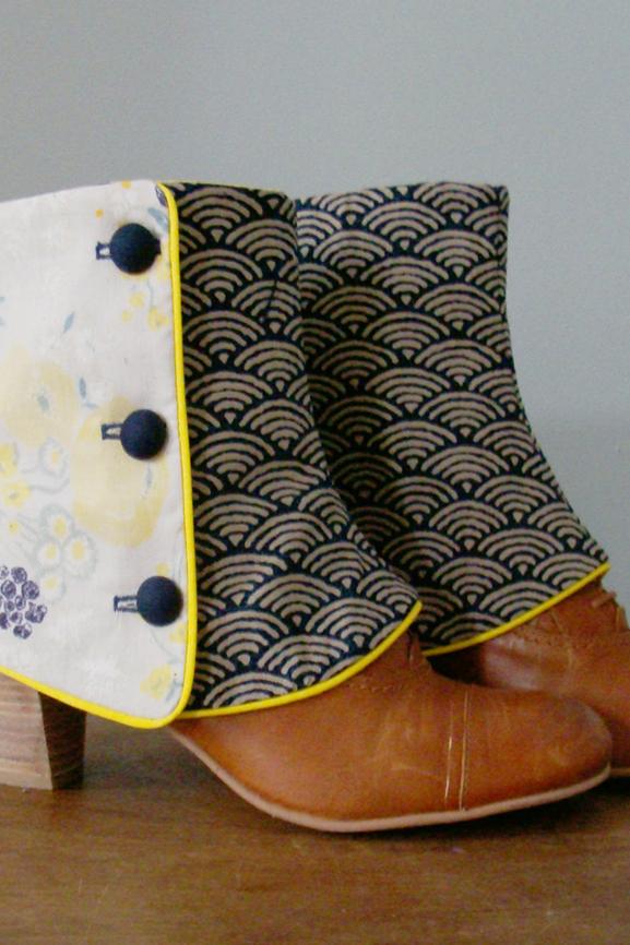 guetres courtes tissu vagues du japon et fleurs tissumi 7 copie