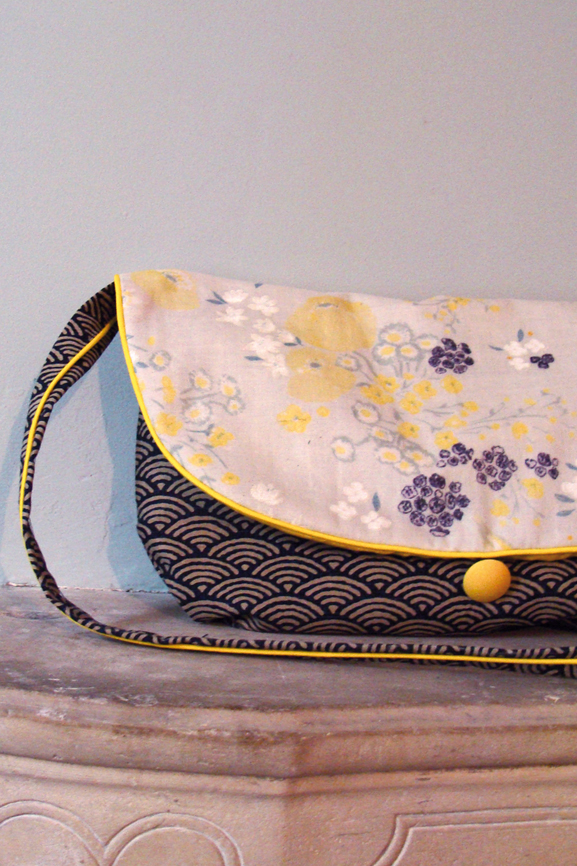 sac besace vagues japonaise et fleurs nani iro 4 tissumi