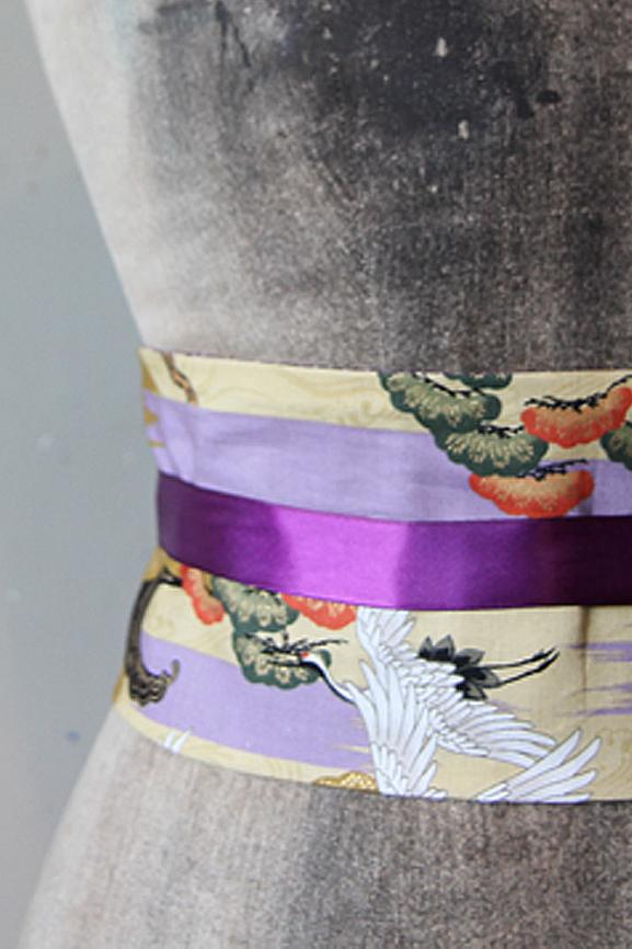ceinture obi tissumi grues et vagues violet
