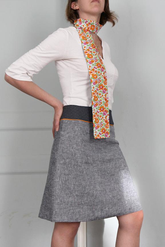 jupe chambray vagues tissumi