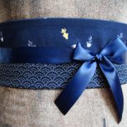 ceinture obi poisson japon bleu marine 5 tissumi