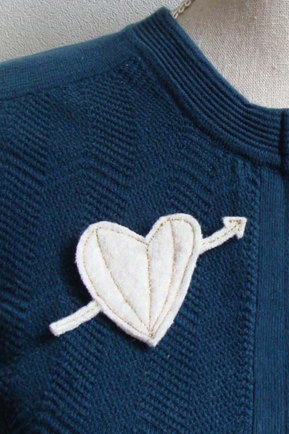 coeur blanc et doré laine 4 tissumi