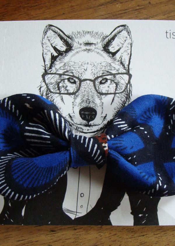 1 noeud papillon wax imprime noir bleu brun 5 tissumi