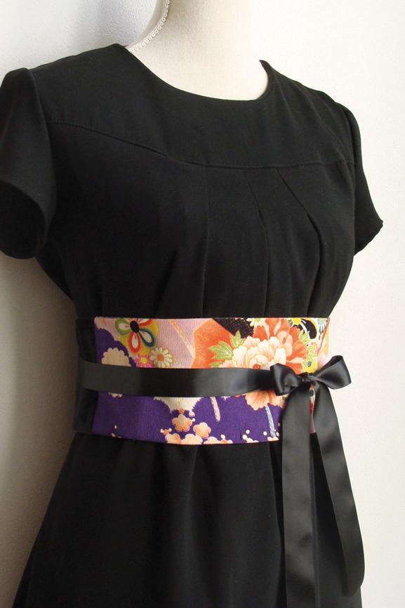 ceinture obi fleurs du japon et velours noir tissumi