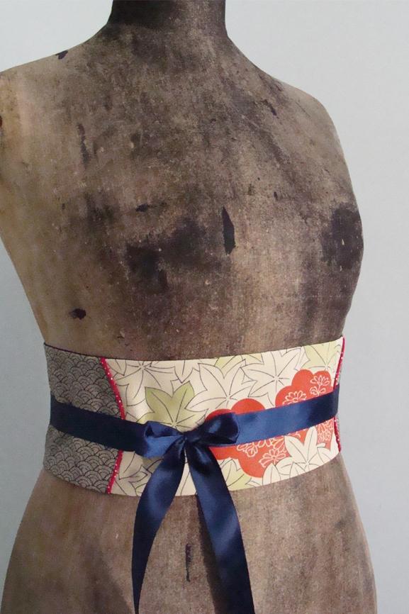 ceinture obi japon feuilles et vagues 7 tissumi