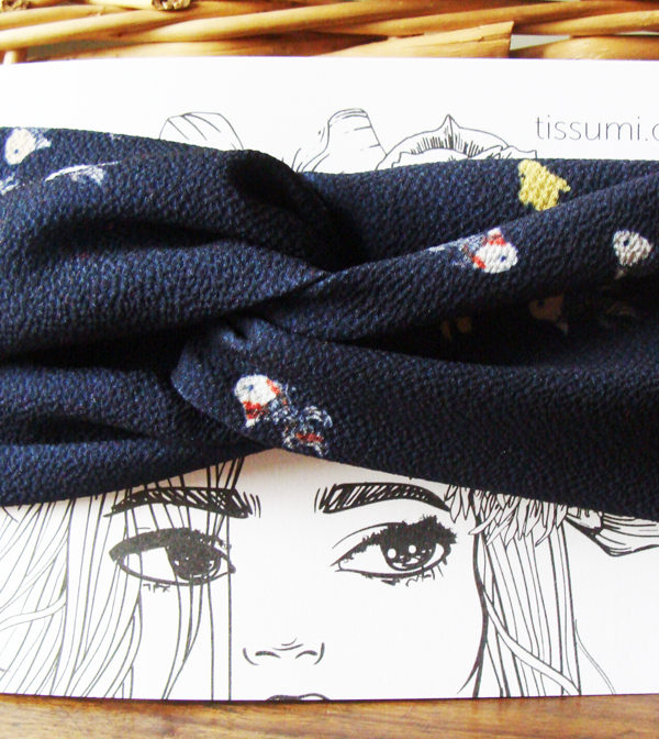 headband bandeau twist bleu marine jaune crepe poisson tissumi
