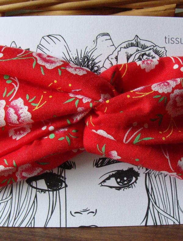 headband bandeau twist rouge pivoines petit pan tissumi