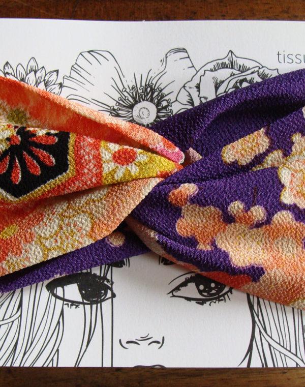 headband twist fleurs du japon violet tissumi