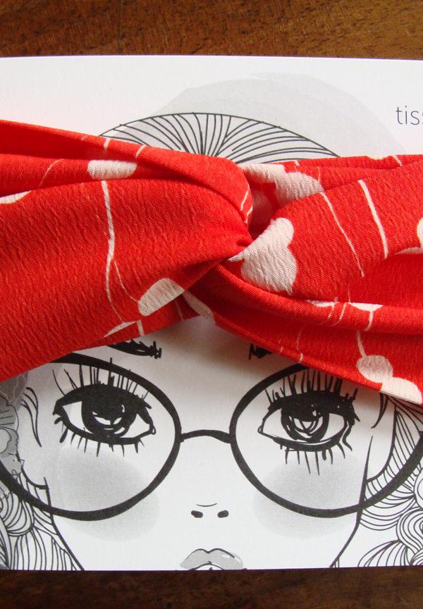 headband twist retro rouge et blanc tissumi