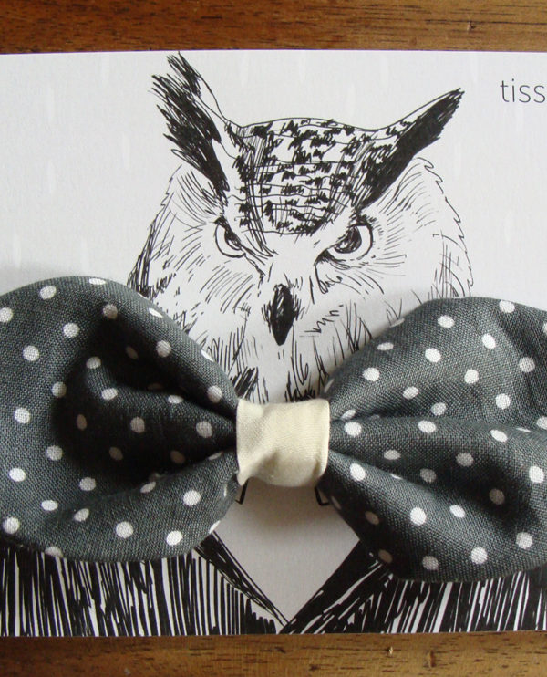 noeud papillon imprime gris a petits pois blancs 7 tissumi
